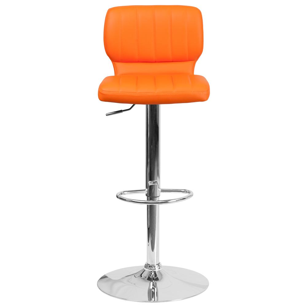 Contemporary Orange Vinyl Adjustable Height Barstool with Vertical Stitch Back and Chrome Base. Picture 5