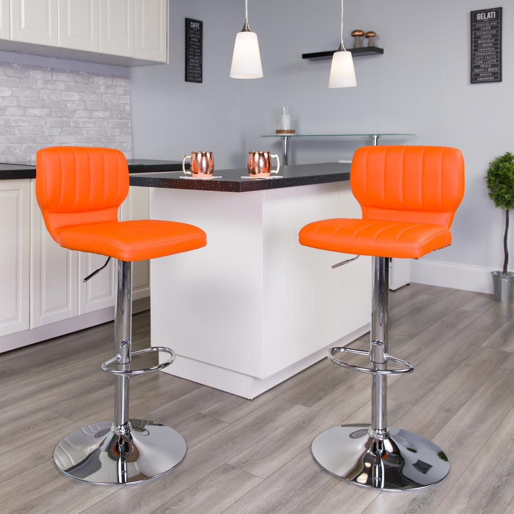 Contemporary Orange Vinyl Adjustable Height Barstool with Vertical Stitch Back and Chrome Base. Picture 6