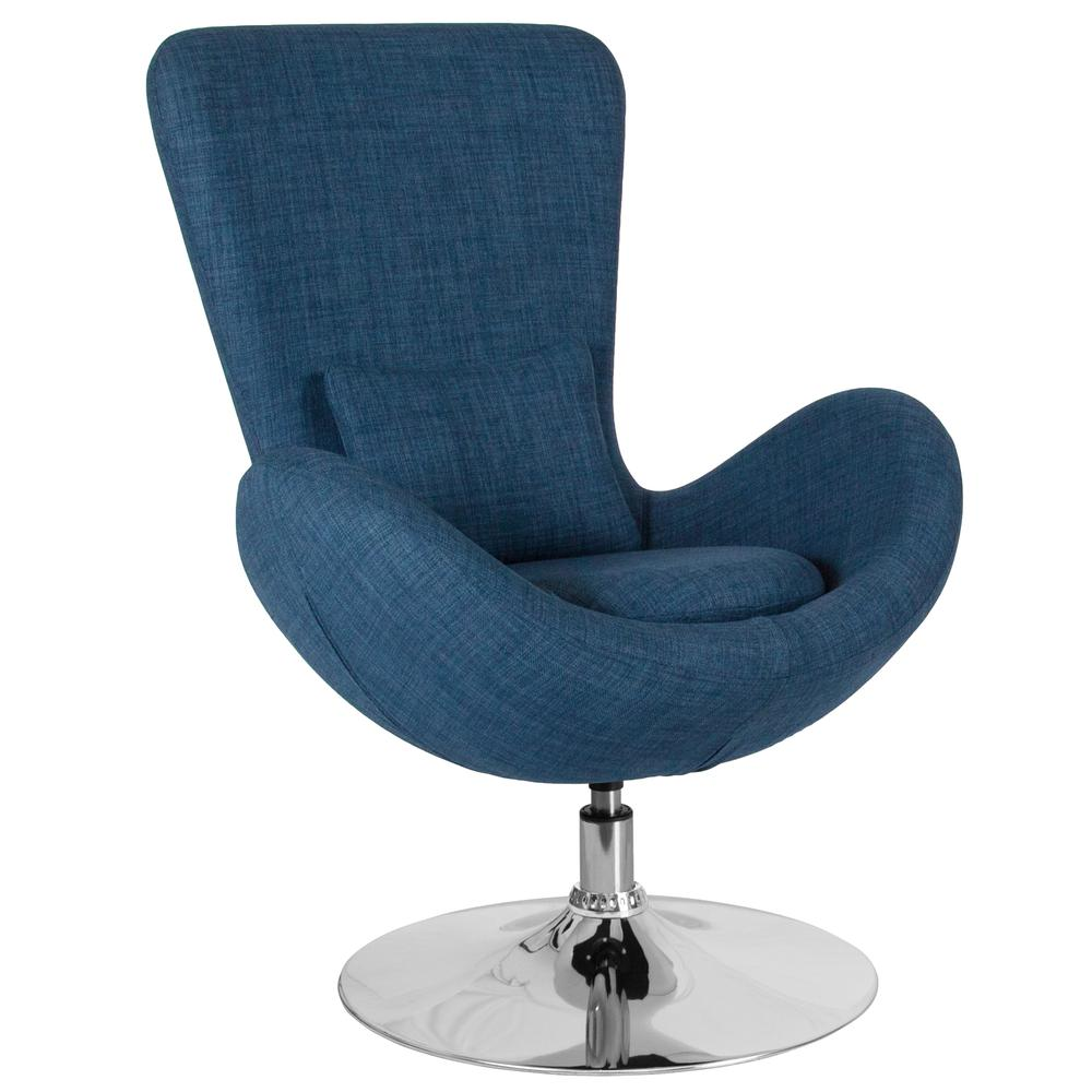 Blue Fabric Side Reception Chair with Bowed Seat. Picture 1