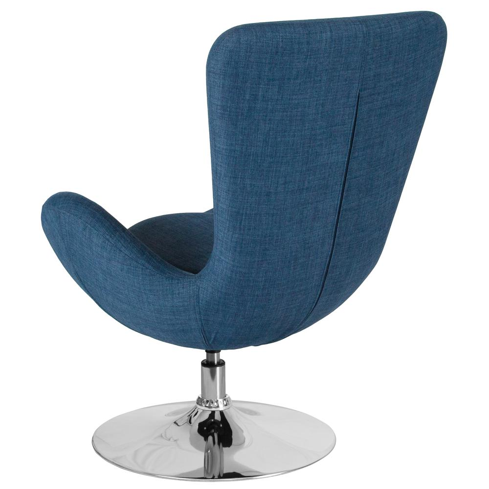 Blue Fabric Side Reception Chair with Bowed Seat. Picture 2