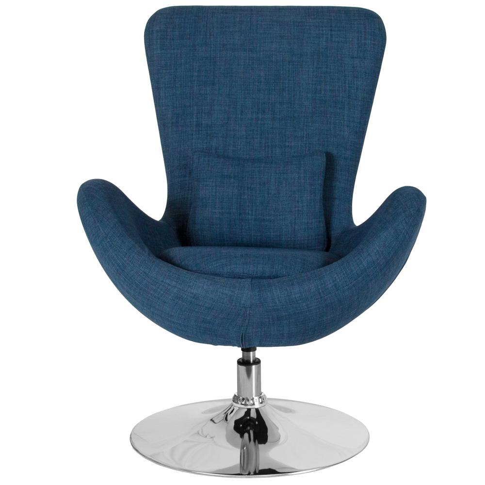 Blue Fabric Side Reception Chair with Bowed Seat. Picture 3