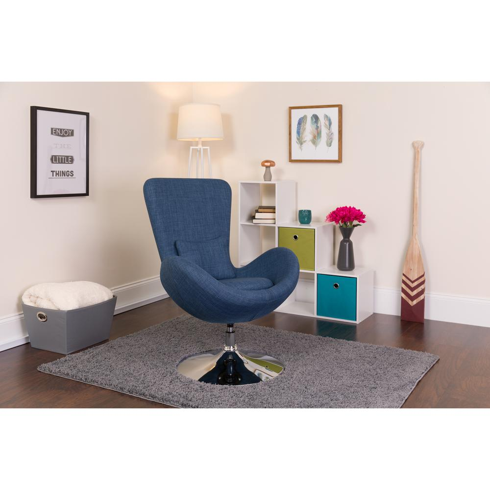 Blue Fabric Side Reception Chair with Bowed Seat. Picture 4
