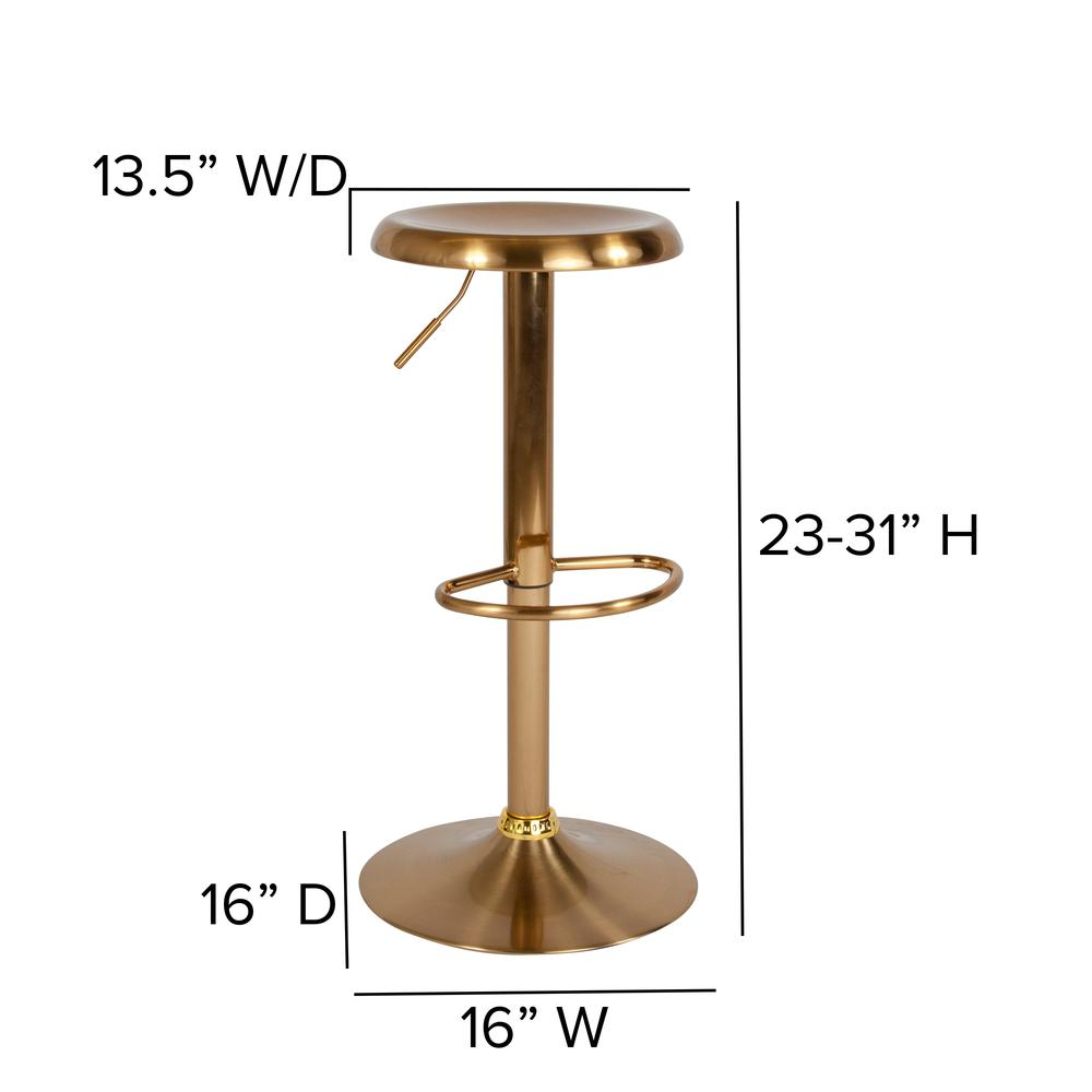 Adjustable Height Retro Barstool in Gold Finish. Picture 2