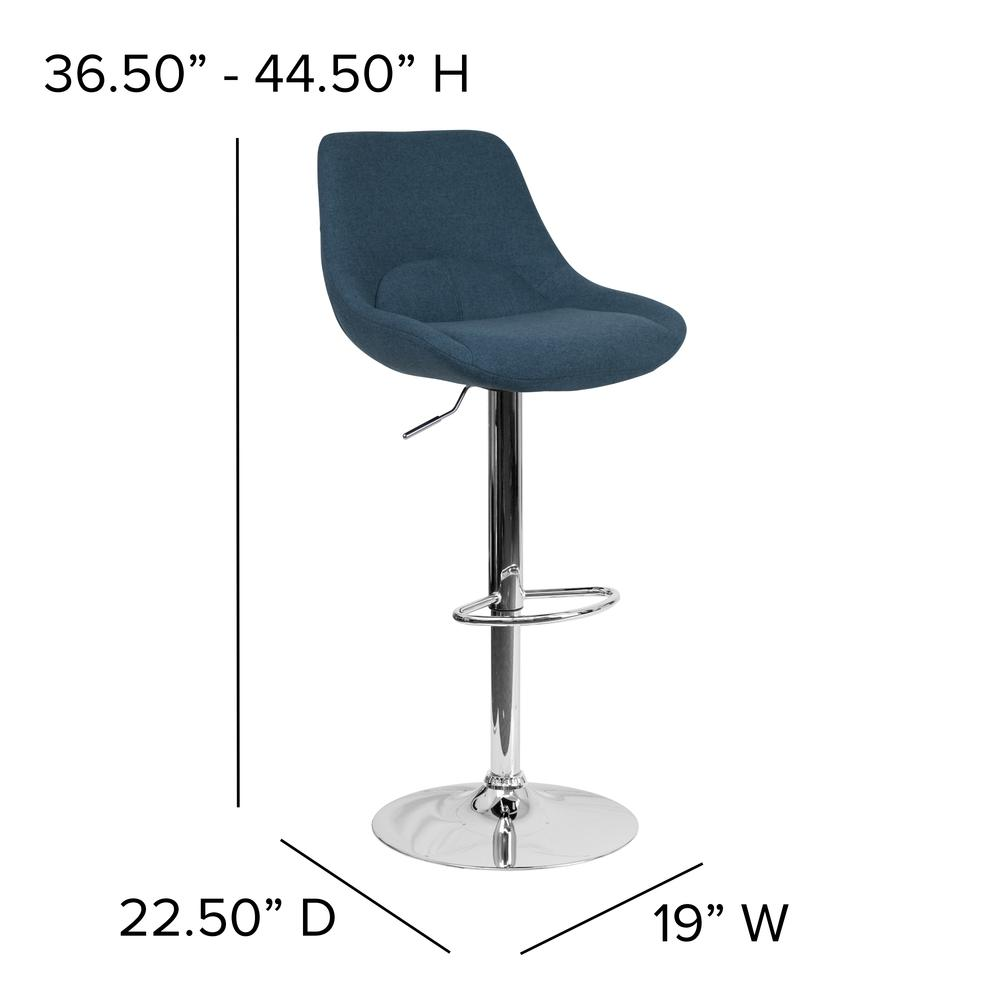 Contemporary Blue Fabric Adjustable Height Barstool with Chrome Base. Picture 4