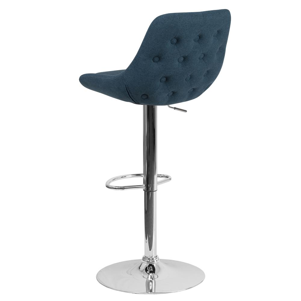 Contemporary Blue Fabric Adjustable Height Barstool with Chrome Base. Picture 5