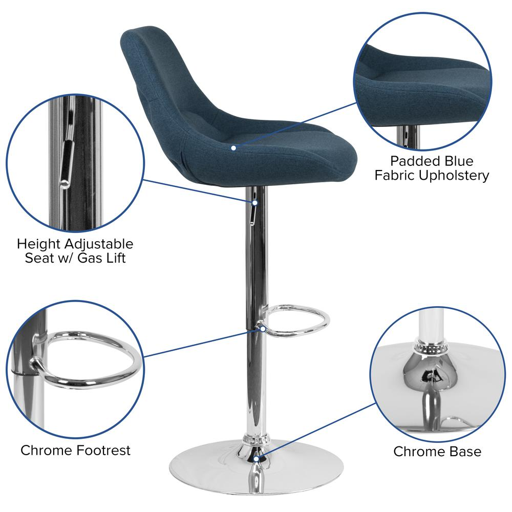 Contemporary Blue Fabric Adjustable Height Barstool with Chrome Base. Picture 2