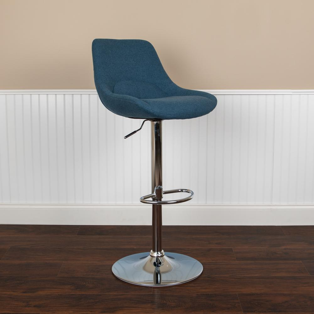 Contemporary Blue Fabric Adjustable Height Barstool with Chrome Base. Picture 3