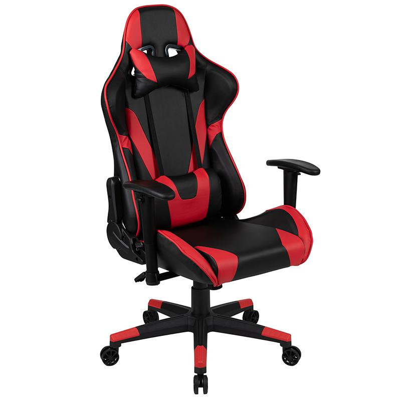 X20 Gaming Chair Racing Office Ergonomic Computer PC Adjustable Swivel Chair with Fully Reclining Back in Red LeatherSoft. Picture 1