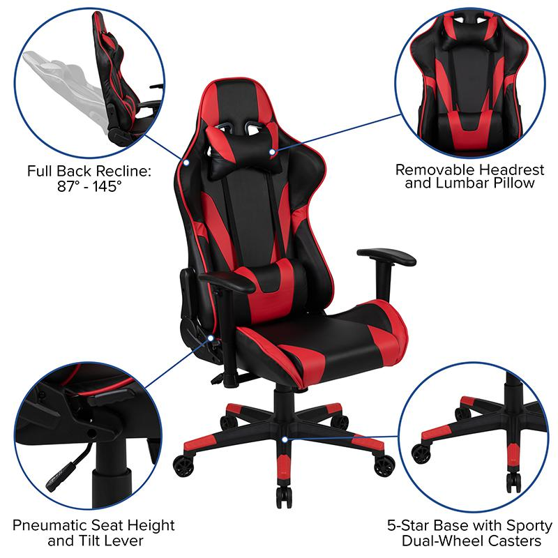 X20 Gaming Chair Racing Office Ergonomic Computer PC Adjustable Swivel Chair with Fully Reclining Back in Red LeatherSoft. Picture 4