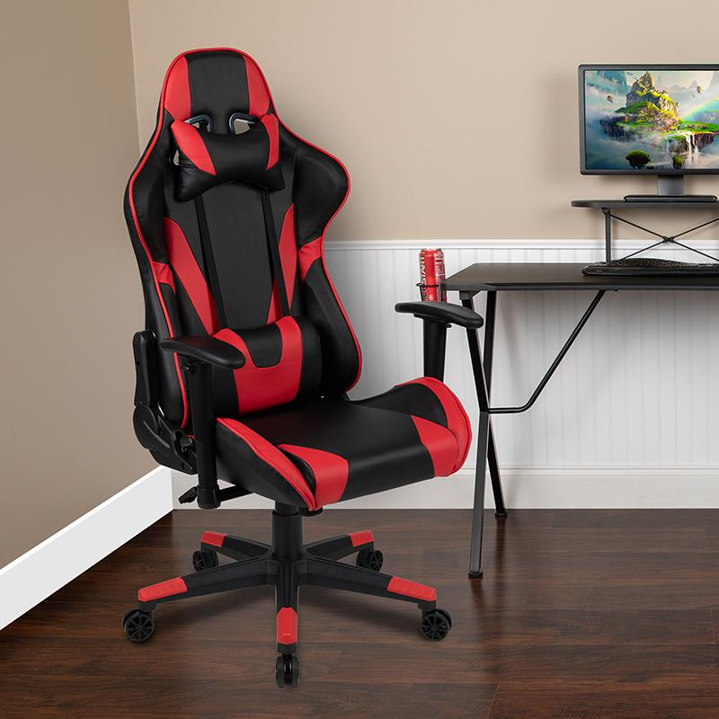 X20 Gaming Chair Racing Office Ergonomic Computer PC Adjustable Swivel Chair with Fully Reclining Back in Red LeatherSoft. Picture 2
