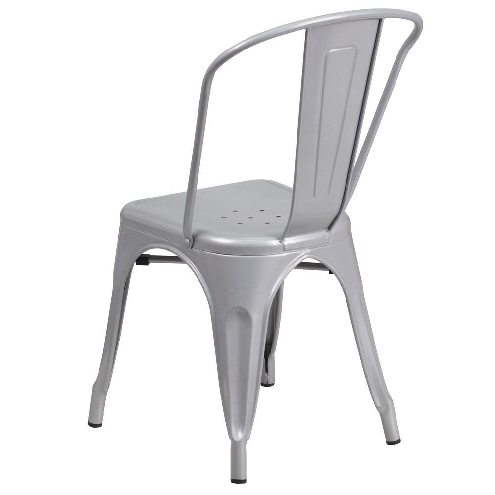 Silver Metal Indoor Outdoor Stackable Chair