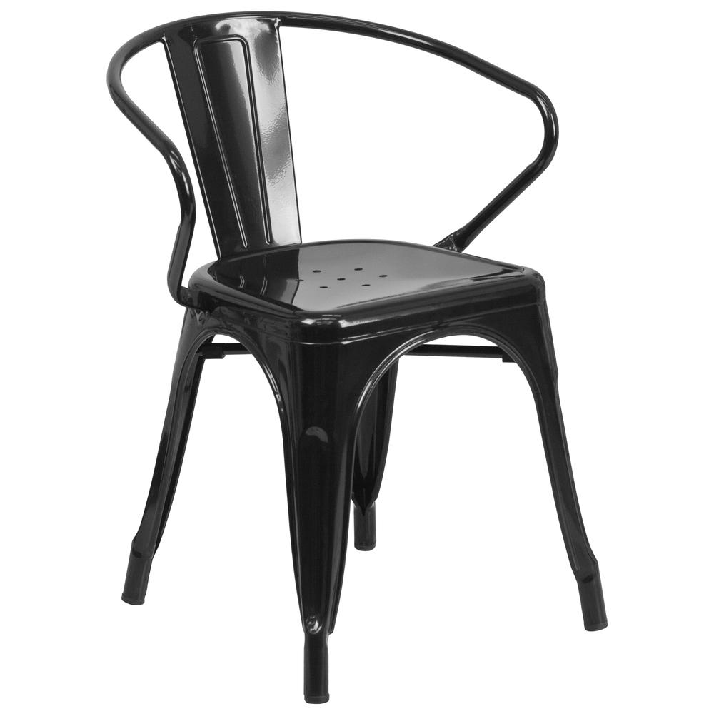 Commercial Grade Black Metal Indoor-Outdoor Chair with Arms [CH-31270-BK-GG]. Picture 1