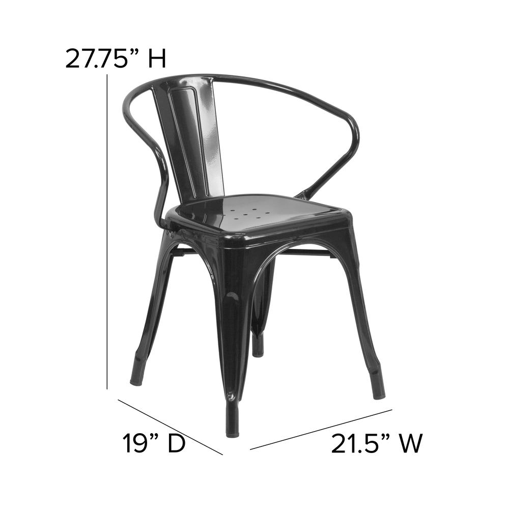 Commercial Grade Black Metal Indoor-Outdoor Chair with Arms [CH-31270-BK-GG]. Picture 2