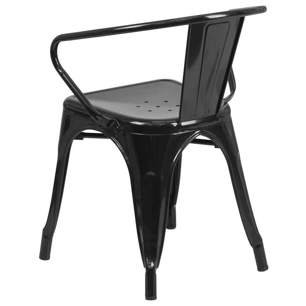 Commercial Grade Black Metal Indoor-Outdoor Chair with Arms [CH-31270-BK-GG]. Picture 4