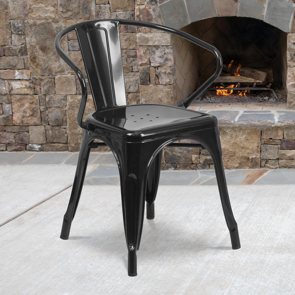 Commercial Grade Black Metal Indoor-Outdoor Chair with Arms [CH-31270-BK-GG]. Picture 6