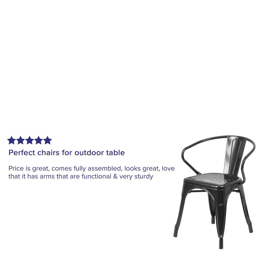 Commercial Grade Black Metal Indoor-Outdoor Chair with Arms [CH-31270-BK-GG]. Picture 7