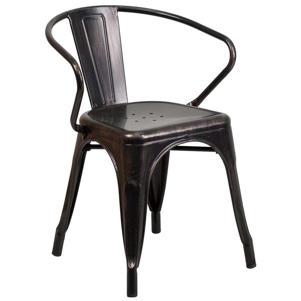 Commercial Grade Black-Antique Gold Metal Indoor-Outdoor Chair with Arms [CH-31270-BQ-GG]. Picture 1