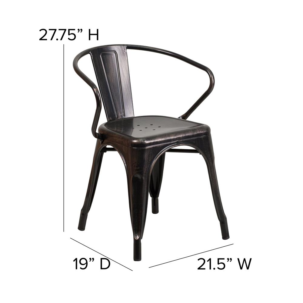 Commercial Grade Black-Antique Gold Metal Indoor-Outdoor Chair with Arms [CH-31270-BQ-GG]. Picture 2