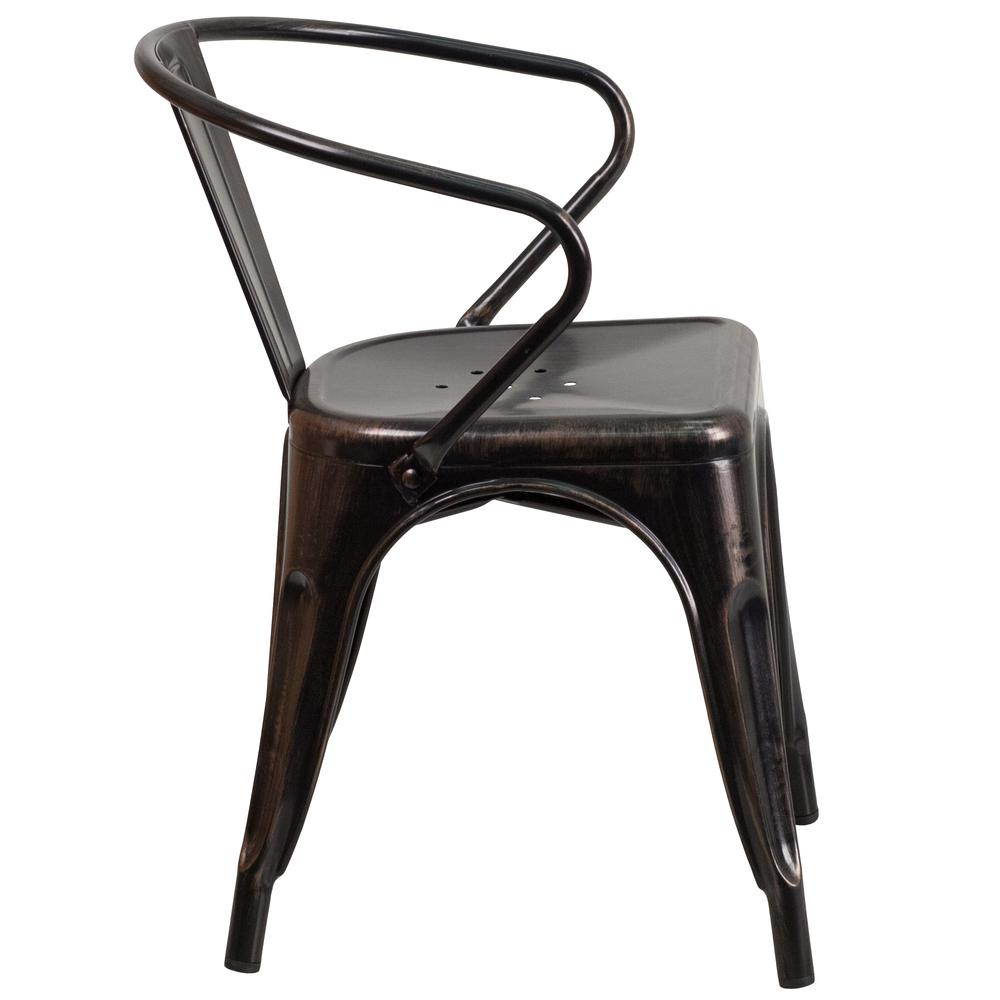 Commercial Grade Black-Antique Gold Metal Indoor-Outdoor Chair with Arms [CH-31270-BQ-GG]. Picture 3