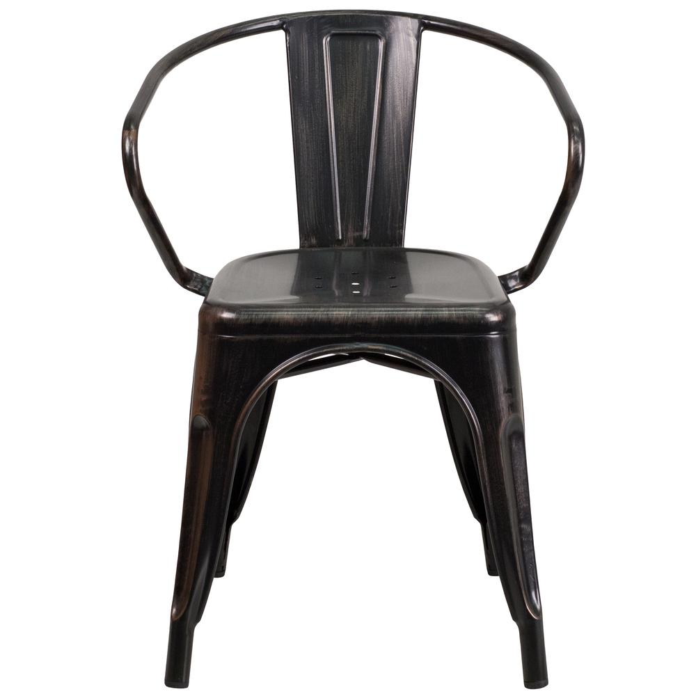 Commercial Grade Black-Antique Gold Metal Indoor-Outdoor Chair with Arms [CH-31270-BQ-GG]. Picture 5