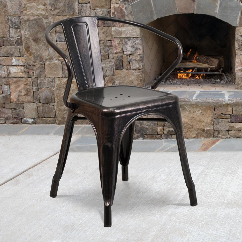 Commercial Grade Black-Antique Gold Metal Indoor-Outdoor Chair with Arms [CH-31270-BQ-GG]. Picture 6