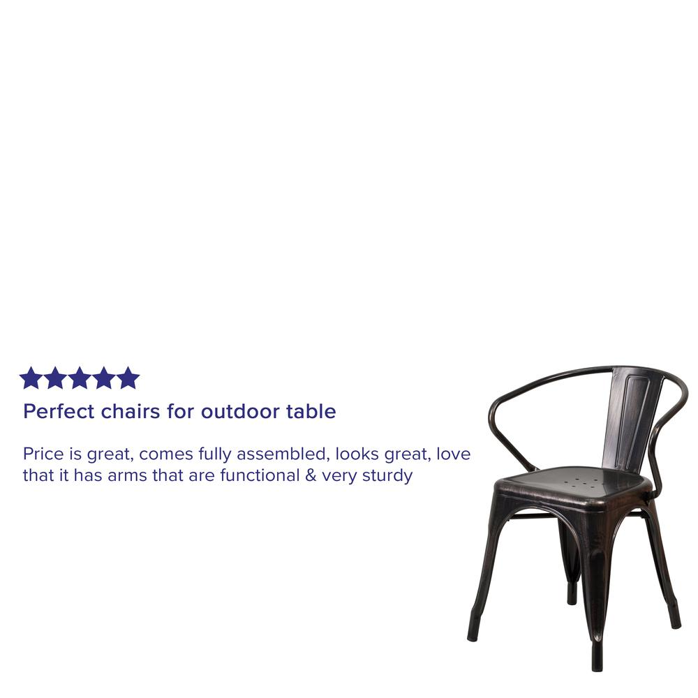 Commercial Grade Black-Antique Gold Metal Indoor-Outdoor Chair with Arms [CH-31270-BQ-GG]. Picture 7