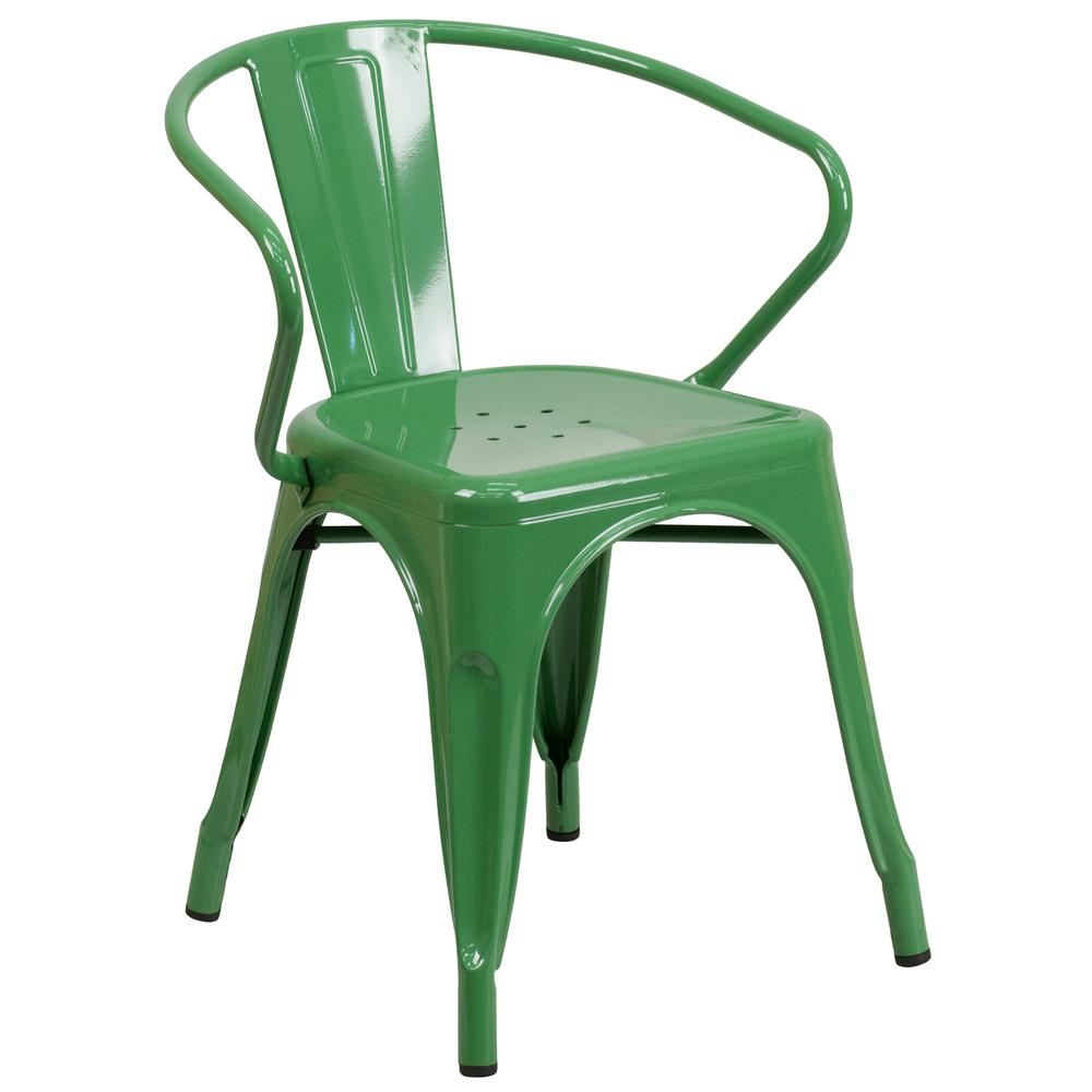 Commercial Grade Green Metal Indoor-Outdoor Chair with Arms [CH-31270-GN-GG]. Picture 1