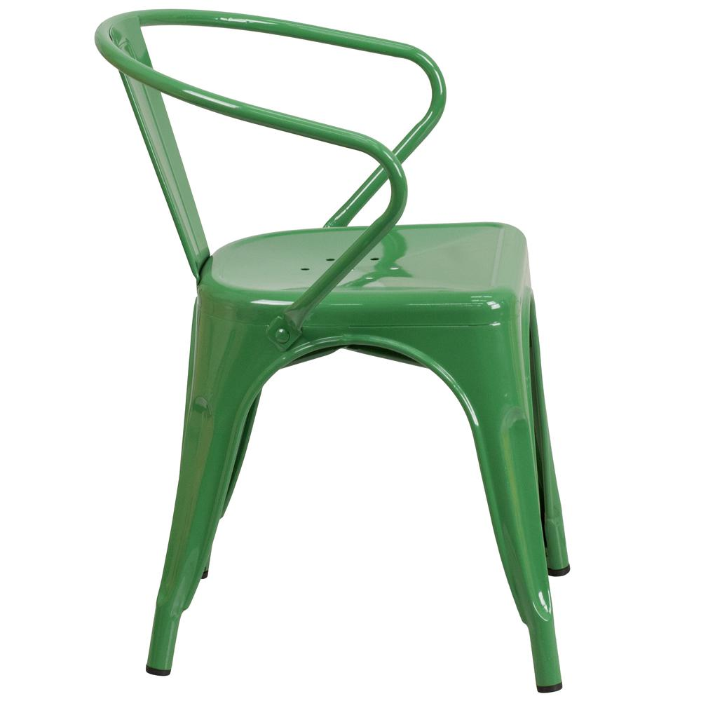Commercial Grade Green Metal Indoor-Outdoor Chair with Arms [CH-31270-GN-GG]. Picture 2