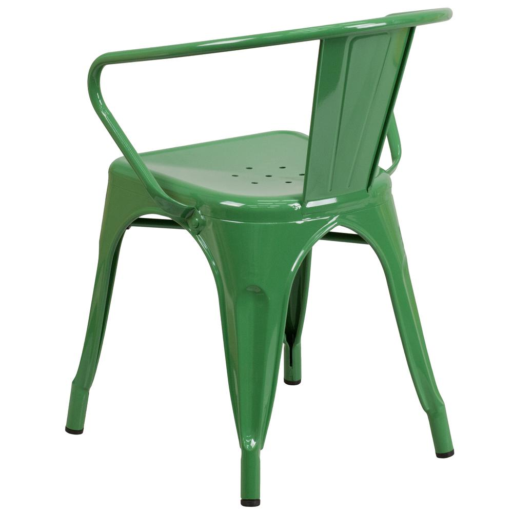 Commercial Grade Green Metal Indoor-Outdoor Chair with Arms [CH-31270-GN-GG]. Picture 3