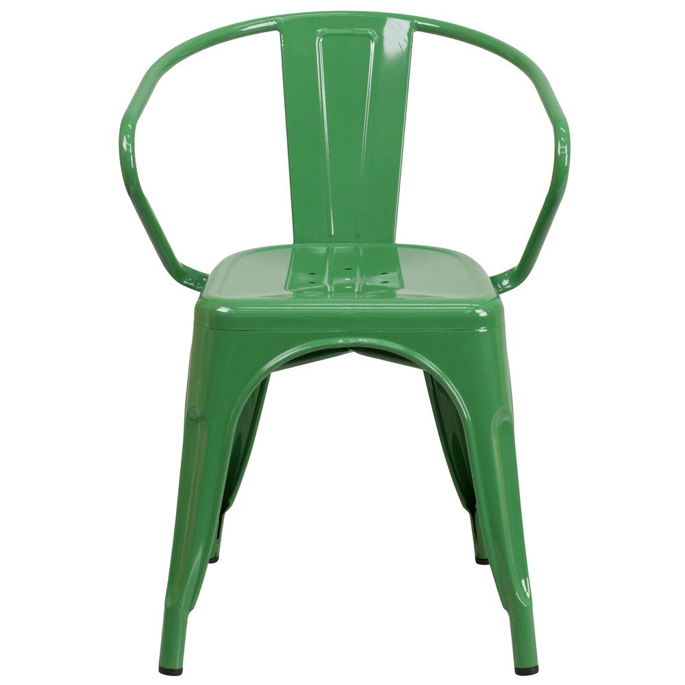Commercial Grade Green Metal Indoor-Outdoor Chair with Arms [CH-31270-GN-GG]. Picture 4