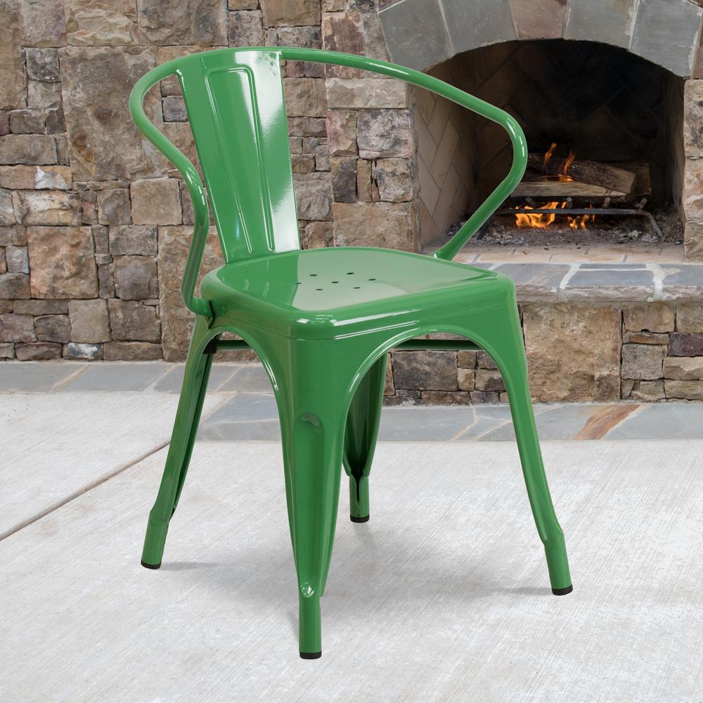 Commercial Grade Green Metal Indoor-Outdoor Chair with Arms [CH-31270-GN-GG]. Picture 5