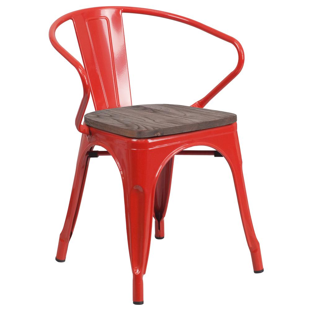 Red Metal Chair with Wood Seat and Arms. Picture 1