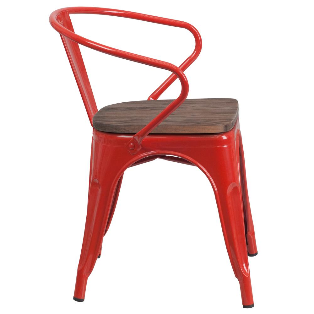 Red Metal Chair with Wood Seat and Arms. Picture 2