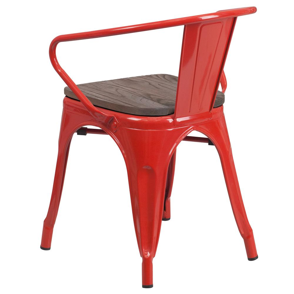 Red Metal Chair with Wood Seat and Arms. Picture 3