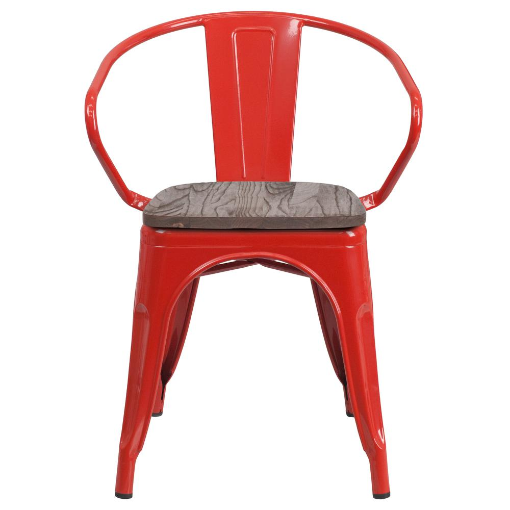 Red Metal Chair with Wood Seat and Arms. Picture 4