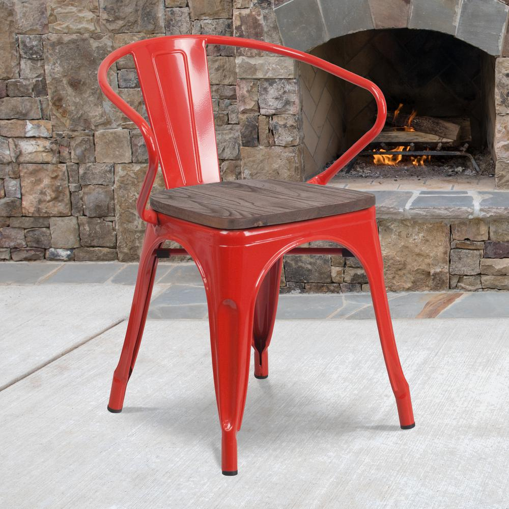 Red Metal Chair with Wood Seat and Arms. Picture 5