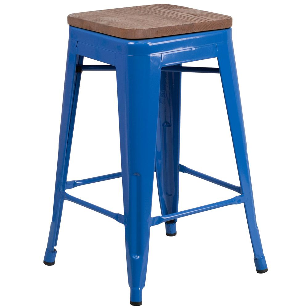"""24"""" High Backless Blue Metal Counter Height Stool with Square Wood Seat. Picture 1"""