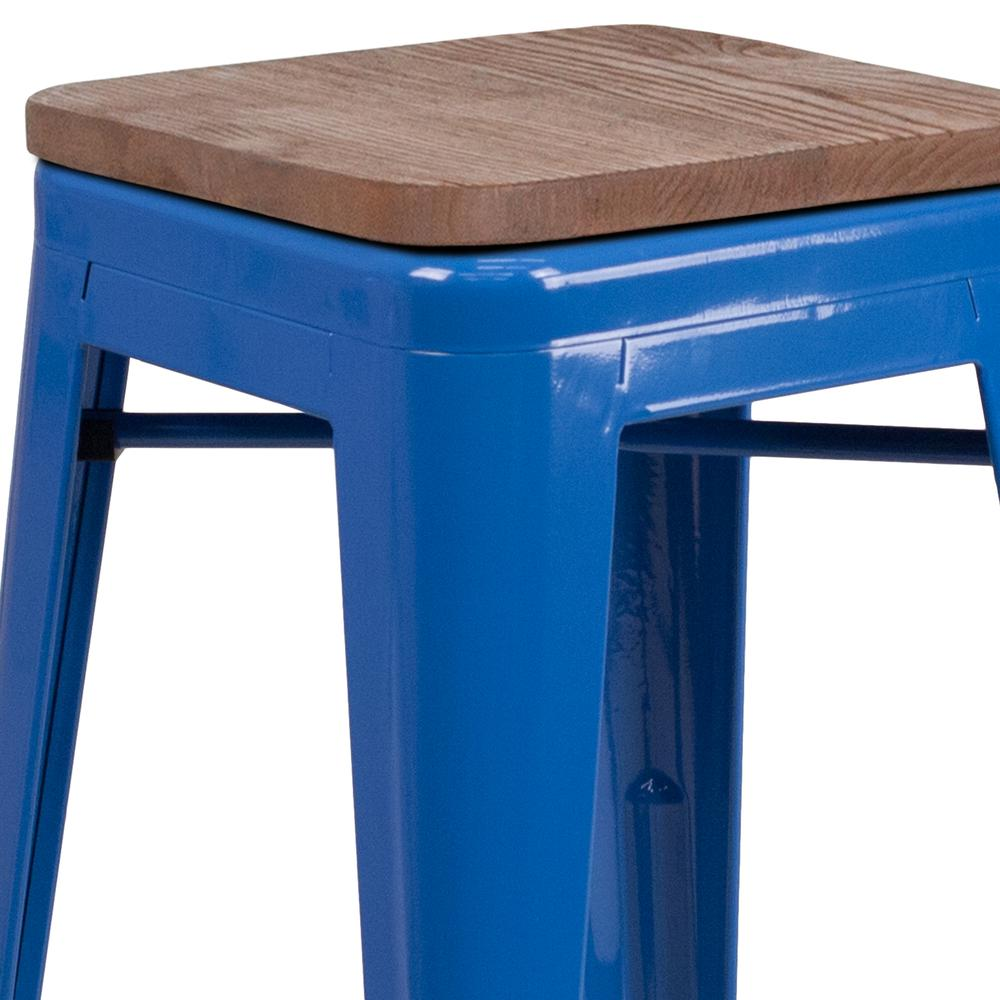 """24"""" High Backless Blue Metal Counter Height Stool with Square Wood Seat. Picture 2"""