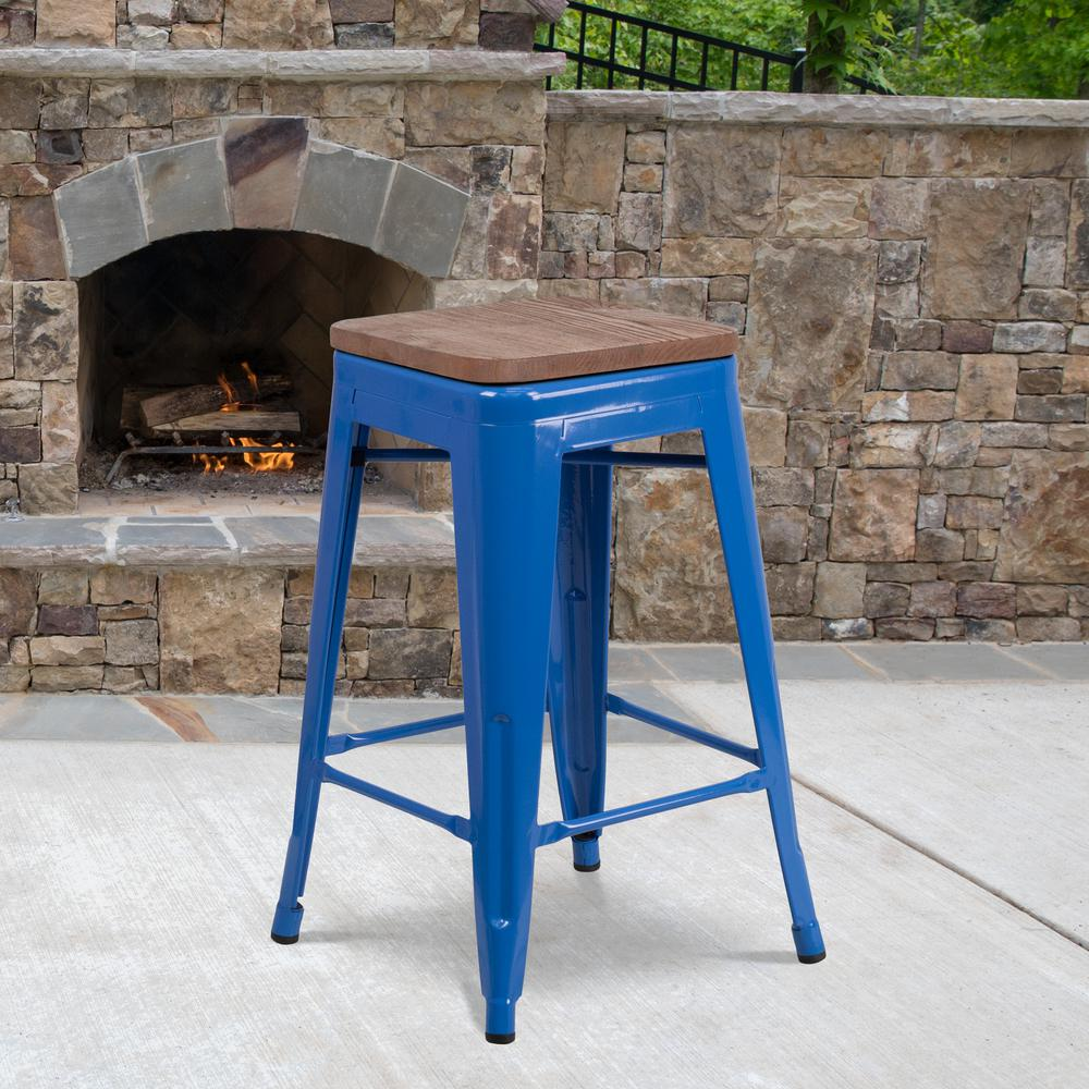 """24"""" High Backless Blue Metal Counter Height Stool with Square Wood Seat. Picture 5"""