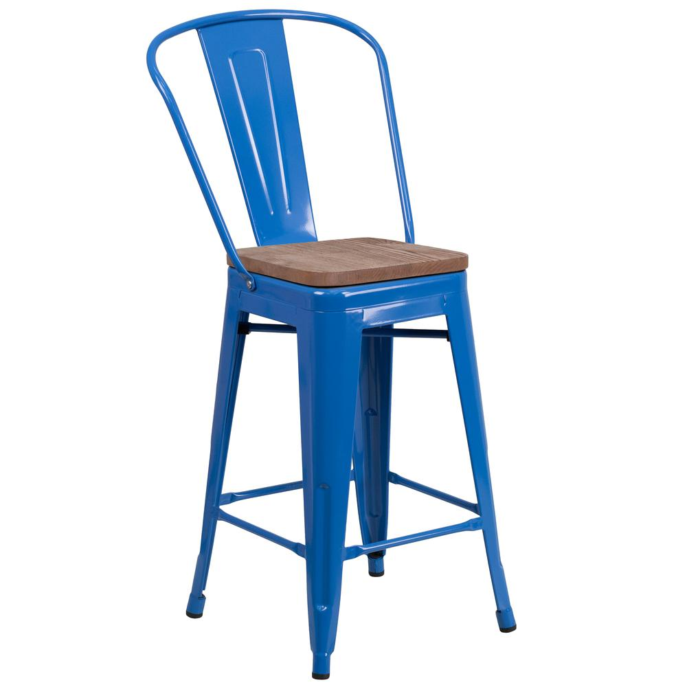 "24"" High Blue Metal Counter Height Stool with Back and Wood Seat. Picture 1"