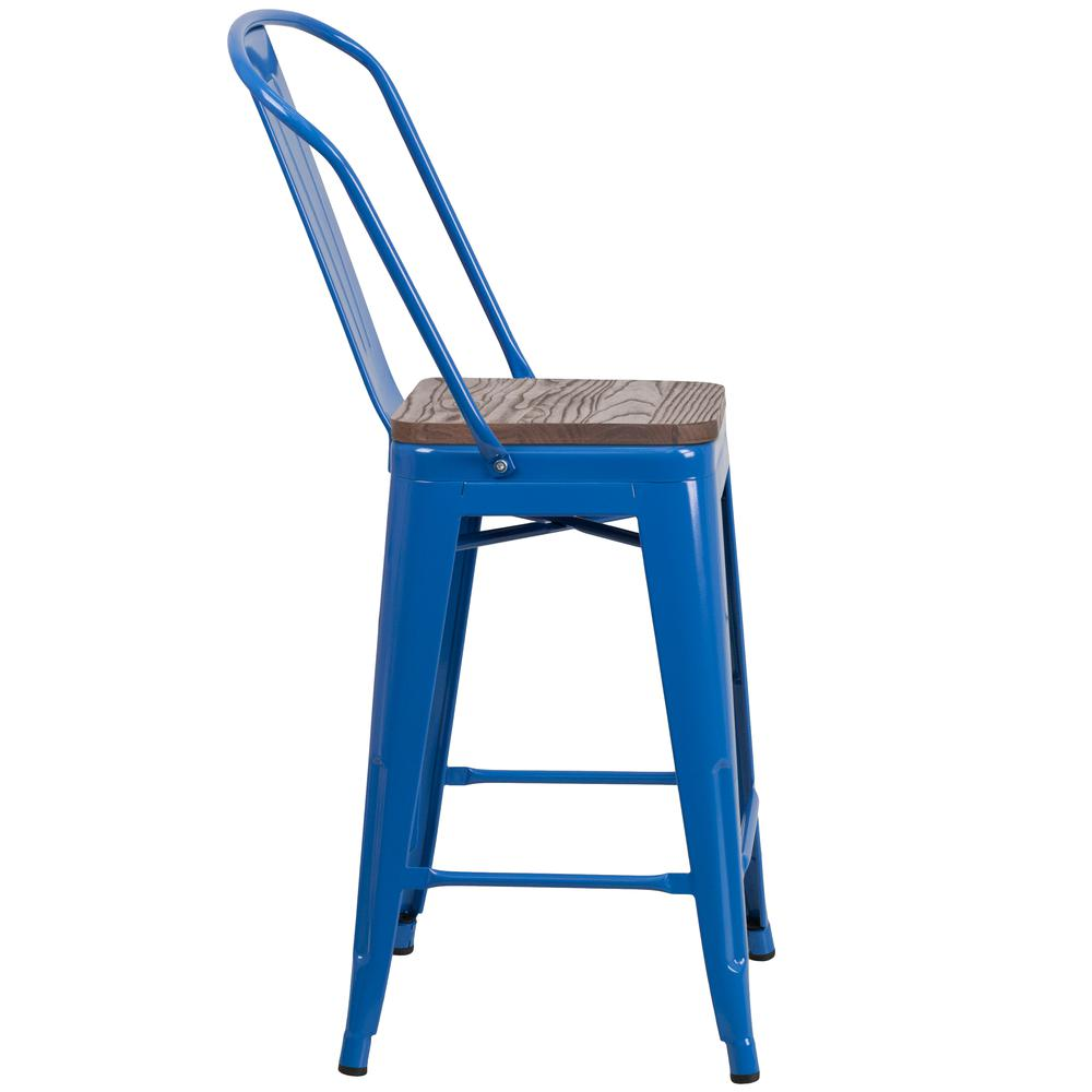 "24"" High Blue Metal Counter Height Stool with Back and Wood Seat. Picture 2"