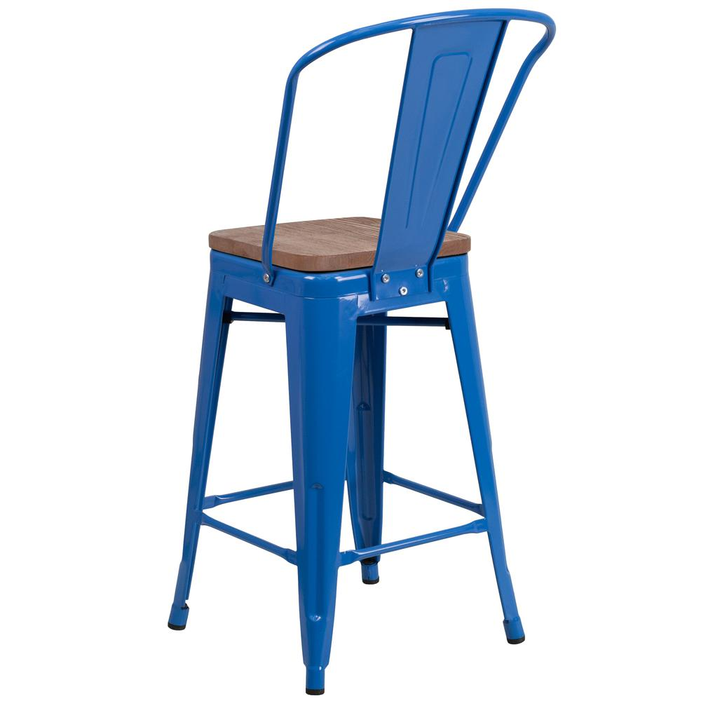 "24"" High Blue Metal Counter Height Stool with Back and Wood Seat. Picture 3"