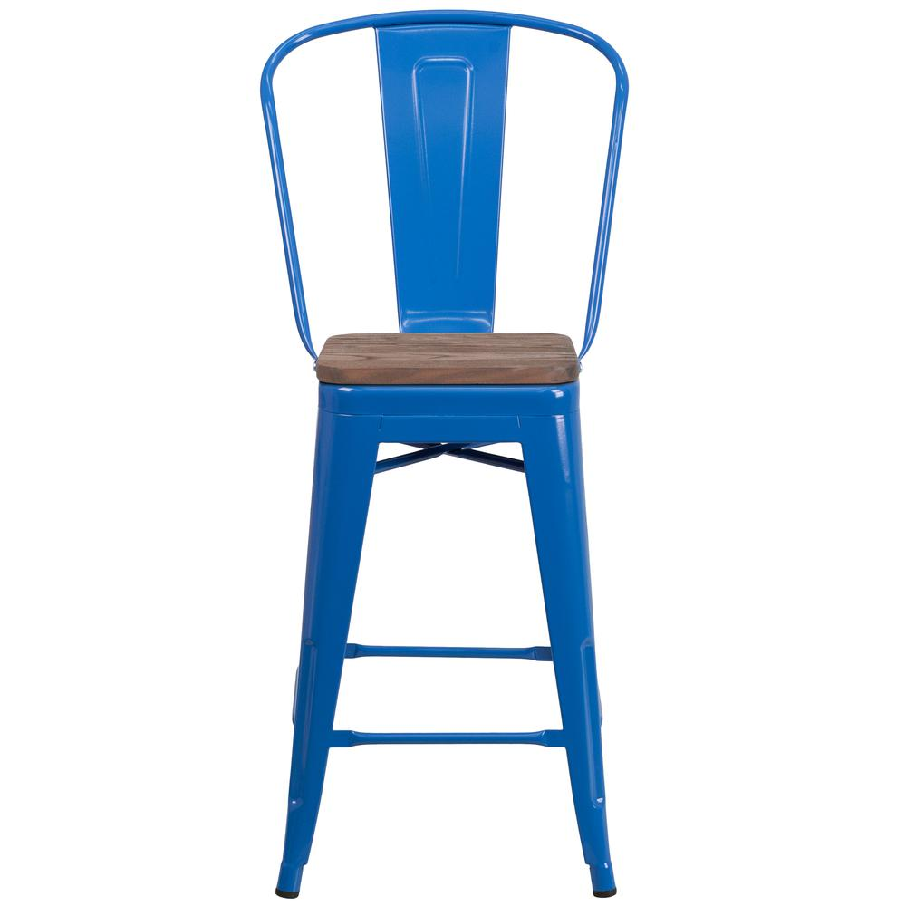 "24"" High Blue Metal Counter Height Stool with Back and Wood Seat. Picture 4"