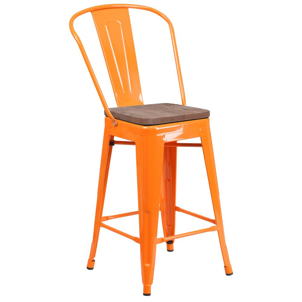 """24"""" High Orange Metal Counter Height Stool with Back and Wood Seat. Picture 1"""