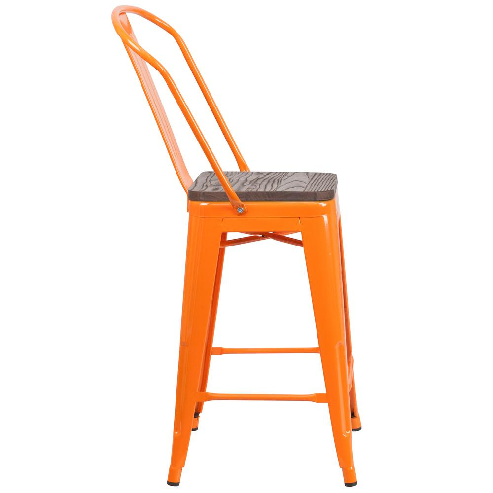 """24"""" High Orange Metal Counter Height Stool with Back and Wood Seat. Picture 2"""