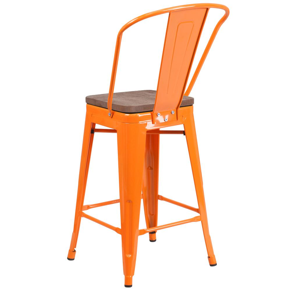 """24"""" High Orange Metal Counter Height Stool with Back and Wood Seat. Picture 3"""