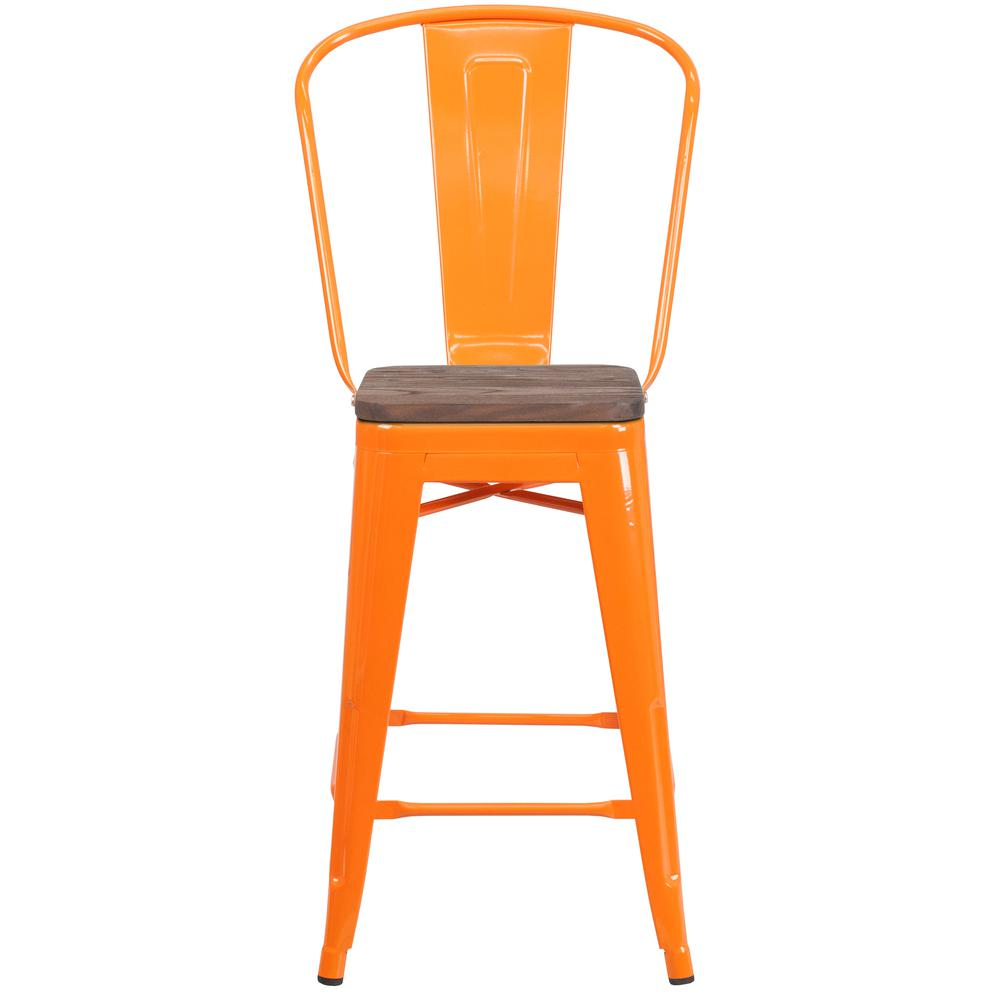 """24"""" High Orange Metal Counter Height Stool with Back and Wood Seat. Picture 4"""