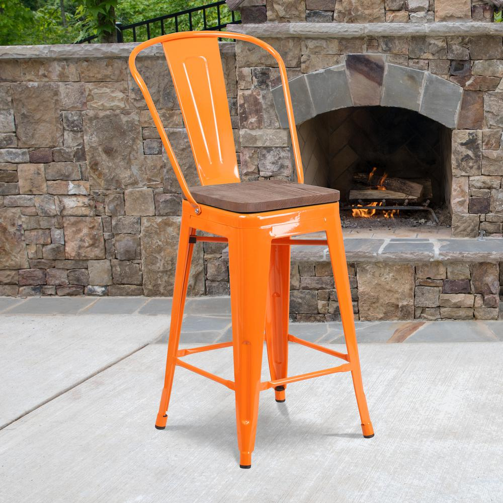 """24"""" High Orange Metal Counter Height Stool with Back and Wood Seat. Picture 5"""