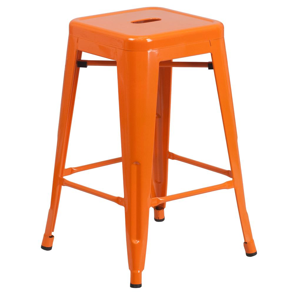 """Commercial Grade 24"""" High Backless Orange Metal Indoor-Outdoor Counter Height Stool with Square Seat. Picture 1"""