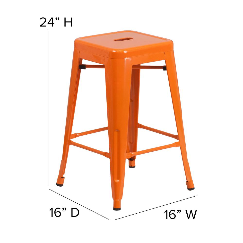"""Commercial Grade 24"""" High Backless Orange Metal Indoor-Outdoor Counter Height Stool with Square Seat. Picture 2"""
